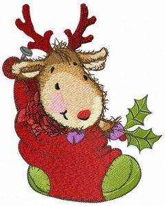Fawn in cozy Christmas sock embroidery design