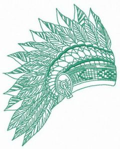Feathered headdress embroidery design