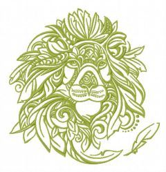 Feathered lion embroidery design