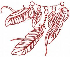 Feathers redwork embroidery design