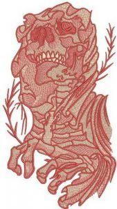 Female skeleton embroidery design