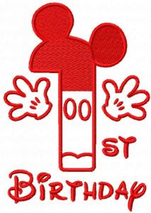 First birthday Mickey red color embroidery design