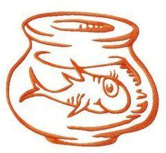 Fish in aquarium embroidery design