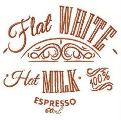 Flat white coffee embroidery design