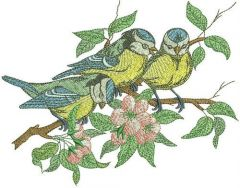 Flock of blue tits embroidery design