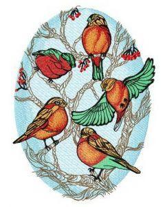Flock of bullfinches on rowan embroidery design