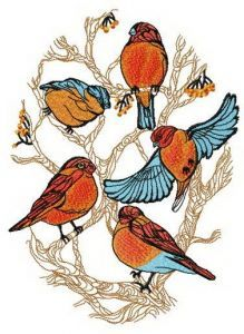 Flock of bullfinches on tree embroidery design