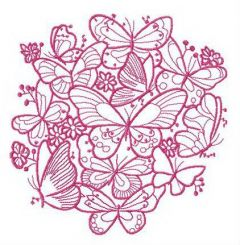 Flock of butterflies embroidery design