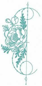 Floral decoration element embroidery design