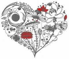 Floral heart 3 embroidery design
