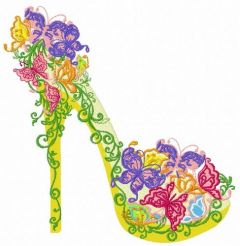 Floral high heel shoe 3 embroidery design