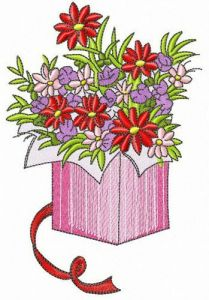 Flower box embroidery design