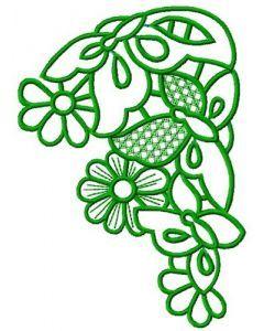 Flower corner 4 embroidery design