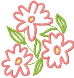 Pink flowers embroidery design