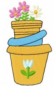 Flower pot 2 embroidery design