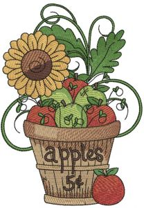 Flower pot with sunflower embroidery design