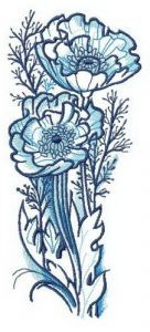 Flowering poppies embroidery design