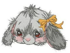 Fluffy bunny with orange bow embroidery design