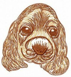 Fluffy dog's muzzle embroidery design