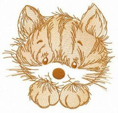Fluffy kitten embroidery design