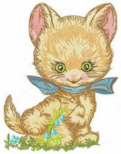 Fluffy little kitten embroidery design