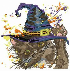 Fluffy witch machine embroidery design