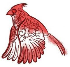 Flying northern cardinal embroidery design