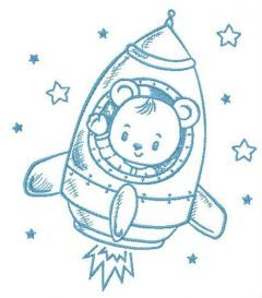 Flying to stars embroidery design