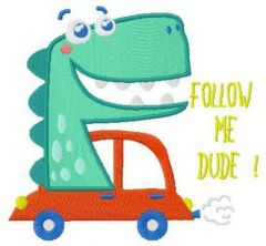 Follow me, dude embroidery design