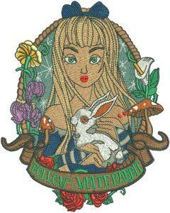 Follow White rabbit embroidery design
