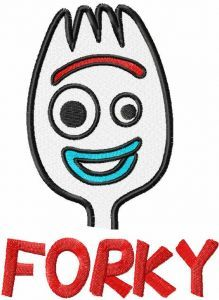 Forky play time embroidery design