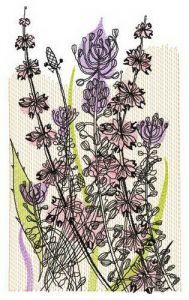 Fragrant field herbs embroidery design