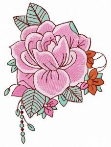 Fragrant rose embroidery design