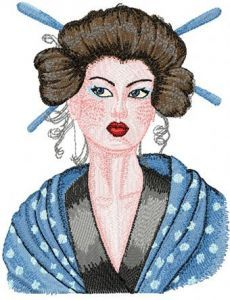 Geisha with Hairpin embroidery design