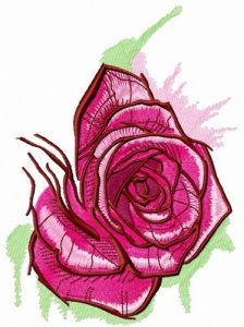 Fresh pink rose embroidery design