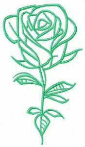 Fresh rose flower embroidery design