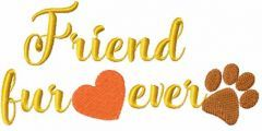 Friend fur ever embroidery design