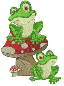Frog friends embroidery design