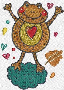 Frog in love embroidery design