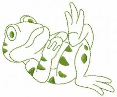 Frog on vacation embroidery design