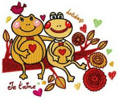 Frog's love embroidery design