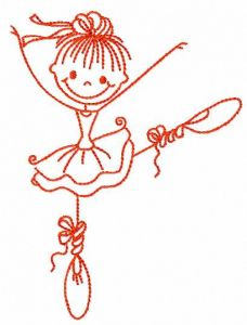 Funny ballet girl embroidery design