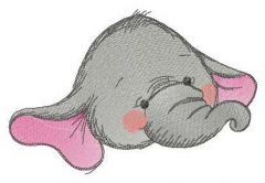 Funny elephant baby 2 embroidery design