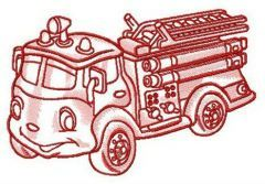 Funny fire engine embroidery design