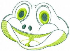 Smiling frog embroidery design