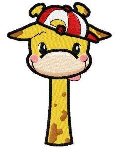 Funny giraffe boy embroidery design