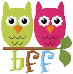 BFF Funny owls embroidery design