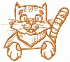 Funny pet kitten embroidery design