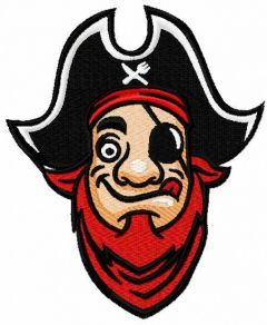 Funny pirate embroidery design