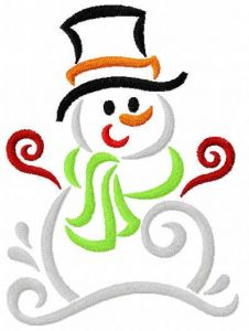 Funny snowman embroidery design